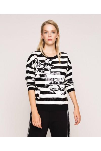 Jersey de rayas con lentejuelas | TwinSet