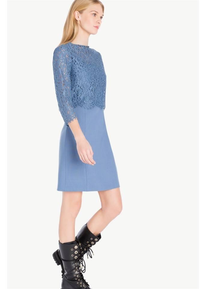 Vestido lana y blusa encaje   twin set