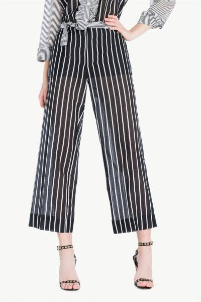 Pantalon cropped de rayas | twin set
