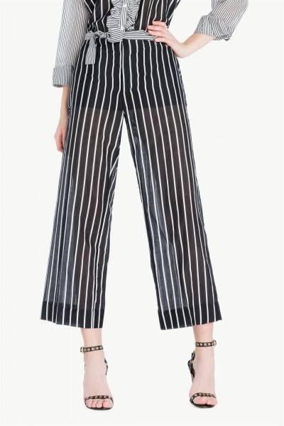 Pantalon cropped de rayas | twin set
